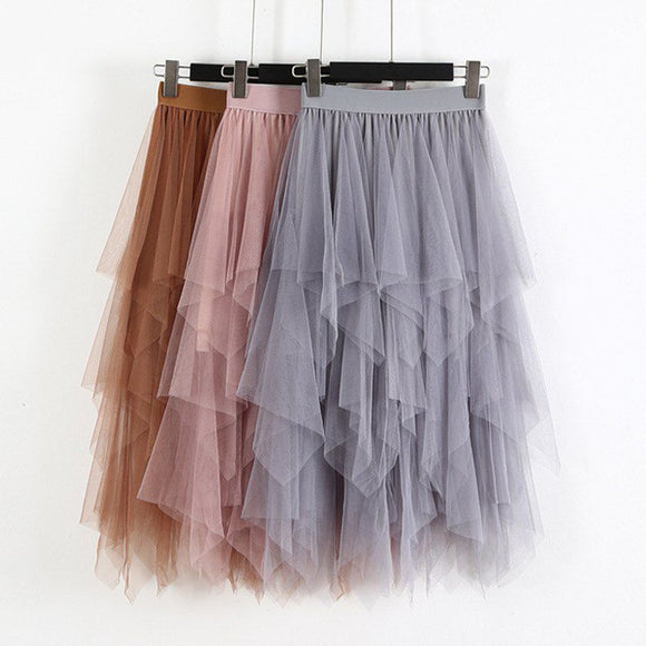Spring Party Skirt Elastic High Waist Long Tulle Skirt Women Irregular Hem Mesh Tutu Skirt Ladies - Layon&Loli