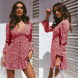 Floral Mini Dress Sexy V Neck - Layon&Loli
