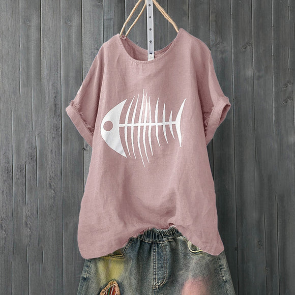 Casual Fish Bones Print  T Shirt - Layon&Loli