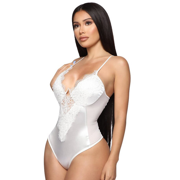 White Satin Bodysuit Transparent Body Suit - Layon&Loli