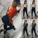 Womens Jumpsuit Long Sleeve Chain Print Top Shirt Ladies - Layon&Loli