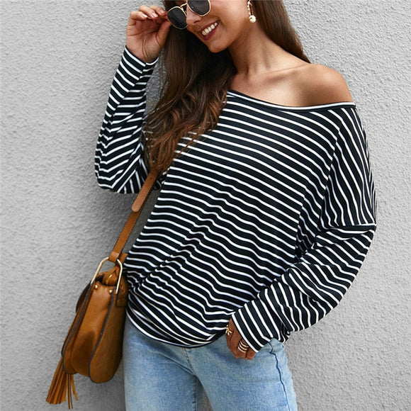 Women Fashion Stripe Camouflage Long Sleeve Loose Strapless Casual Top Shirts - Layon&Loli