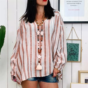 Khaki Sweater Women's Stripe Printing Long Sleeve Shirt Casual Blouses Tops - Layon&Loli