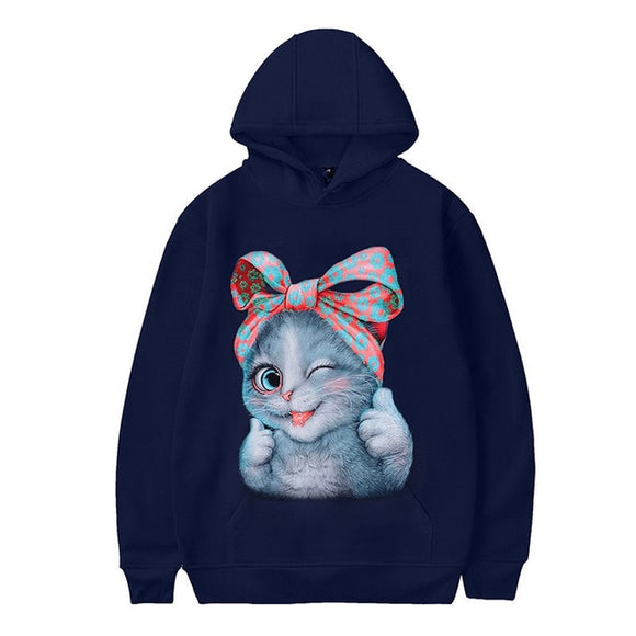 2019 Personality Halloween Guards Women Cat Print Long Sleeve Pullover - Layon&Loli