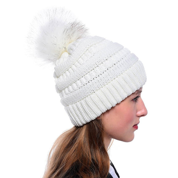 Winter warm hat for girls pom pom hat with fur - Layon&Loli