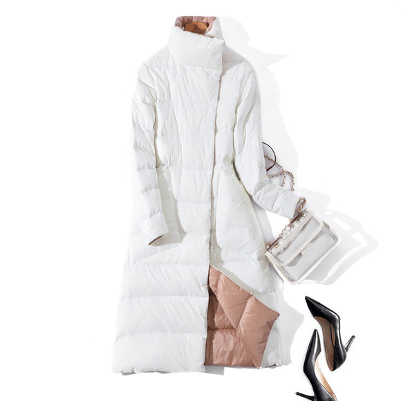 Winter Coat Stand Collar White Duck Down Inner Women Light Long Jacket -parka - Layon&Loli