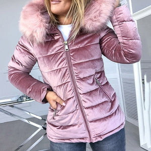 Cotton Padded Jackets Plus Size 4XL Hood Fur Collar Thick Fashion Basic Snow Outerwear - Layon&Loli