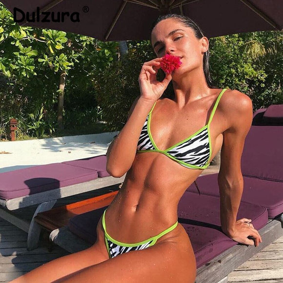 Zebra Print Bikini Set ,Two Piece Swimwear Female - Layon&Loli