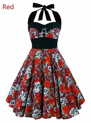 Vintage Style Sleeveless 3D Skull Floral Printed Summer Women Dress Halter Plus Size Party Sexy Casual Dress - Layon&Loli