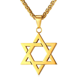 Jewish Magen Star of David Necklace Men/Women Bat Mitzvah Gift Israel Judaica Hebrew Jewelry Hanukkah Pendant Gold Color P723 - Layon&Loli