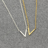 Simple V Necklaces Charm Women's Fashion Jewelry Stainless Steel Ketting Choker - Layon&Loli
