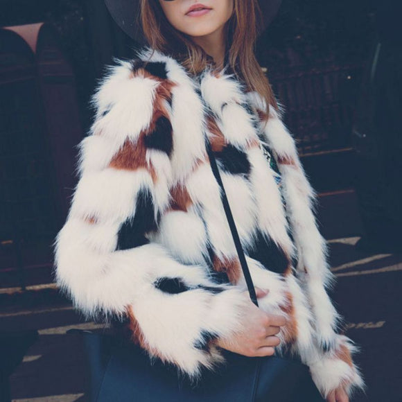 Autumn Winter  Faux Fur Coat Warm Long Sleeve White Plush Coat - Layon&Loli