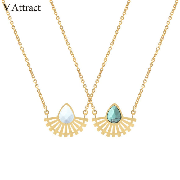 V Attract Stainless Steel Ketting Natural Stone Choker - Layon&Loli