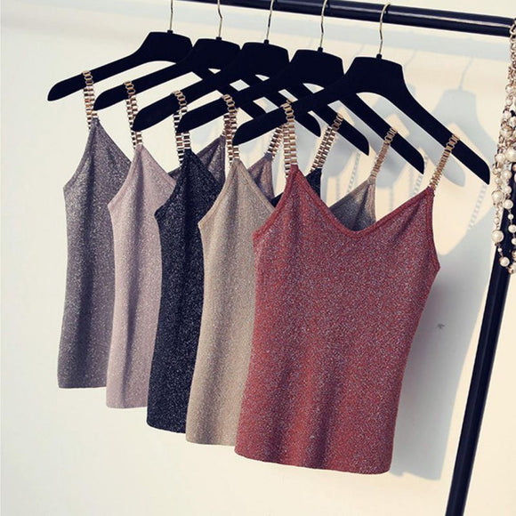 Women Glitter Tank Tops Sexy Female V-Neck Knitted - Layon&Loli