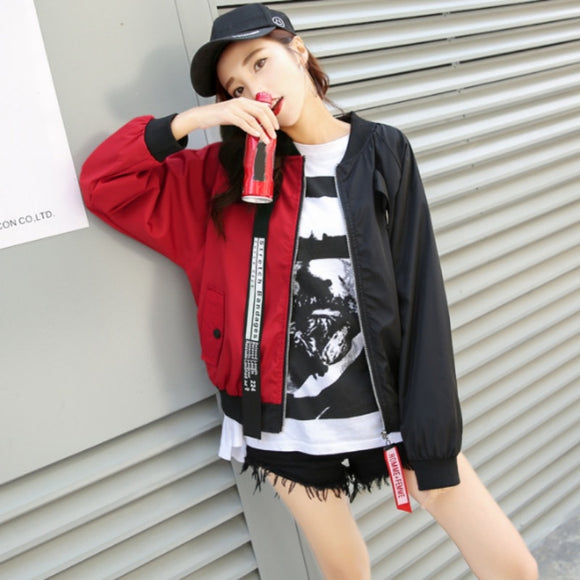 Bomber Jacket Color Block Women Two Tone Patch Back Autumn Jackets - Layon&Loli