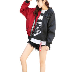 Bomber Jacket Color Block Women Two Tone Patch Back Autumn Jackets - layanestore.myshopify.com-[product_type]