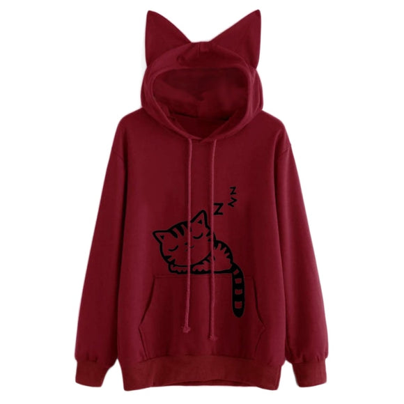 Hooded Sweatshirts Tops Womens Cat Printed Long Sleeve Hoodies Pullovers - Layon&Loli