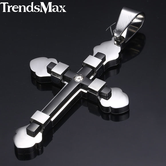 Cross Pendant Necklace For Men Black Gold Silver Stainless Steel Pendant Necklace - Layon&Loli