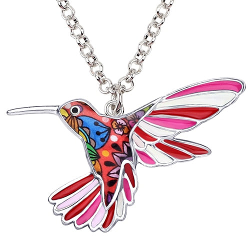 Statement Enamel Alloy Hummingbird Bird Necklace - Layon&Loli