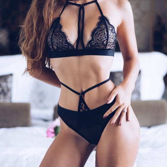 Sexy Halter Lace Bra Panty Set Push Up Seamless - Layon&Loli