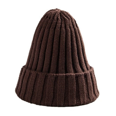 Hat Female Unisex Cotton Blends Solid Warm Soft HIP HOP Knitted Hats - Layon&Loli