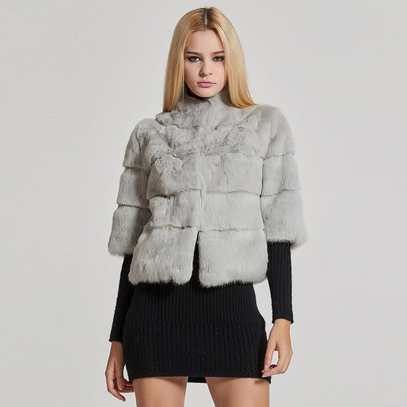 Short Real Rabbit Fur Coat Winter Fashion Warm Jacket Half Sleeve - Layon&Loli