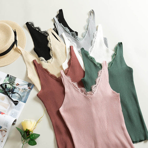 Sexy Women Lace Camisole Splicing Double V-neck Vest Plain Slim Sling Camis Solid Colors - Layon&Loli