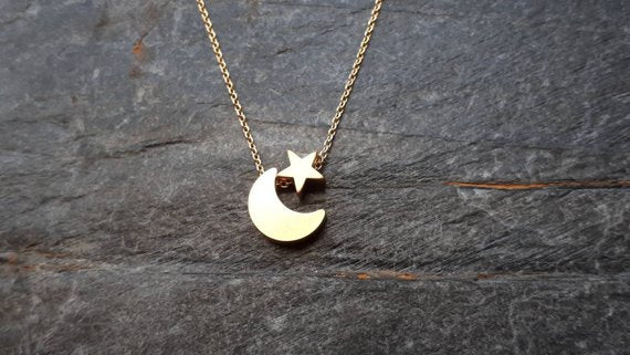 Stainless Steel Necklace Women Rose Gold Chain Star Moon - Layon&Loli