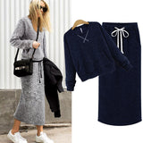 Two Piece Set Women Cashmere Hoodie Tops Pockets Gray Casual - Layon&Loli