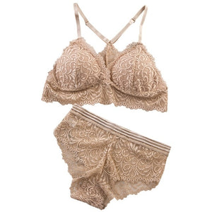 Sexy Lace Bra Sets Women Seamless Embroidery Bralette Wireless Breathable - Layon&Loli