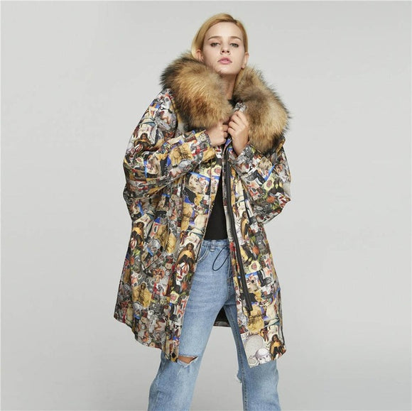 Windproof Cocoon Coat Women Parka with Real Lamb Fur Lining Warm Street - Layon&Loli