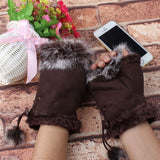 Women Girl Faux Rabbit Fur Wrist Fingerless Hand Winter Gloves - Layon&Loli