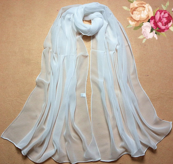 Summer Scarves Beach Style 100% Silk Pure White - Layon&Loli
