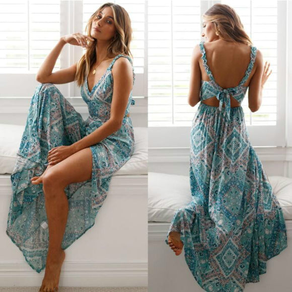 Sexy Backless Dress 2020 Summer Bohemian Floral Print Long Dresses Femal V Neck Vestidos Plus Size - layanestore.myshopify.com-[product_type]