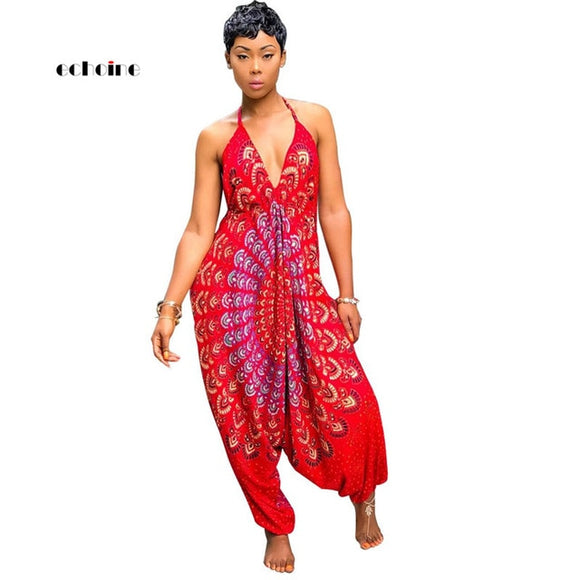 Jumpsuit National Style Print Sexy V-Neck Halter Backless - Layon&Loli
