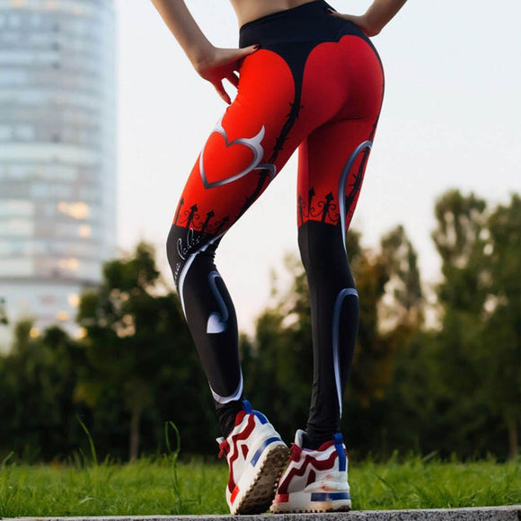 Sexy Heart Print Leggings Women Red Black Patchwork Sporting Pants - Layon&Loli