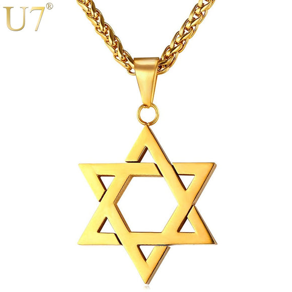 Jewish Magen Star of David Necklace Men/Women Bat Mitzvah Gift Israel Judaica Hebrew Jewelry Hanukkah Pendant Gold Color P723 - layanestore.myshopify.com-[product_type]