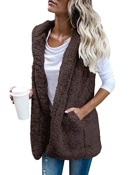 Coat  Vest Sleeveless Pocket Hooded Neck Plus Size - Layon&Loli