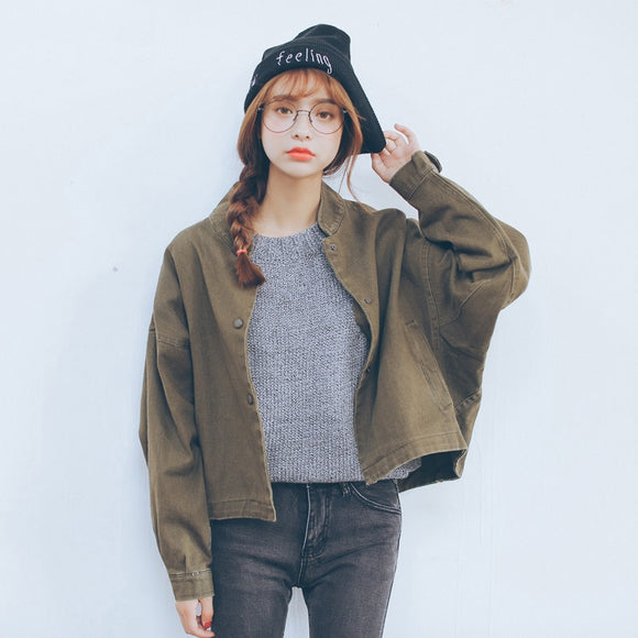 Jacket Women Fashion Ladies Basic Retro Bomber Jacket Casual Coat Autumn Slim Fit Outwear 2019 - Layon&Loli