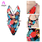 floral deep v neck one piece swimsuits back x strap sexy women - Layon&Loli