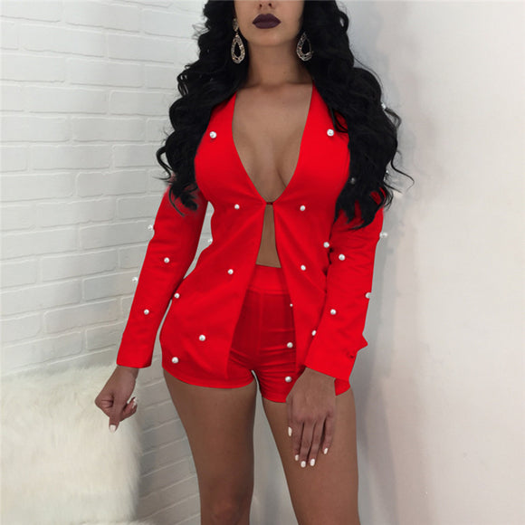 Suits Cardigan Blazer Coat And Shorts Slim Full Sleeve Two Piece Set - Layon&Loli