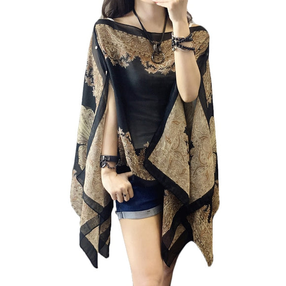 Woman Fabala Cover Ups Flower Thin Shawl Shirts Blouses - Layon&Loli