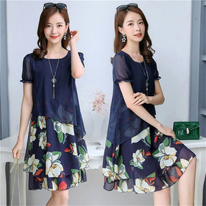 Summer Chiffon Dress Women Floral Dress 2019 4XL 5XL - Layon&Loli
