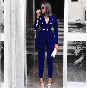 2 Piece Set Top And Pants Rhinestone Long Sleeve Suit - layanestore.myshopify.com-[product_type]