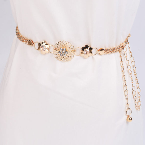 KLV Belt Women's Lady Fashion Metal Chain Gold Color Belt - layanestore.myshopify.com-[product_type]