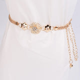 KLV Belt Women's Lady Fashion Metal Chain Gold Color Belt - Layon&Loli