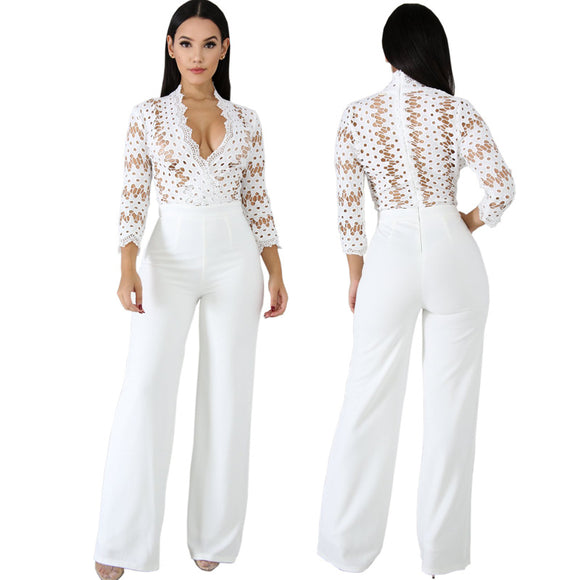 Casual Hollow Out Lace Jumpsuit Romper Women - layanestore.myshopify.com-[product_type]