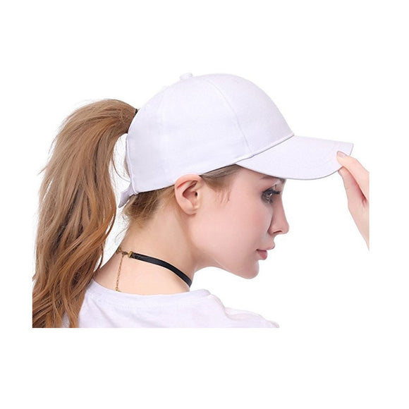Solid Messy Buns Ponytail Baseball Cap Women Ladies Snapback - Layon&Loli