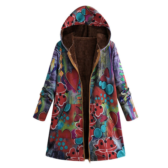 Winter Warm Coat Outwear Floral Print Hooded Pockets Vintage Oversize Coats - Layon&Loli