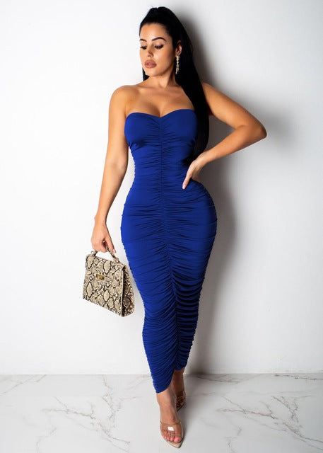 Women Bodycon Backless Pencil Dress 2019 Summer High Waist Slim Bandage Tube - Layon&Loli